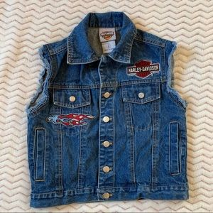 Harley-Davidson blue denim w/pockets vest sz S(8)